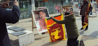 A patriot Sri Lanka pays his great gratitude to war hero Gotabhaya's photos displayed in an anti-Sri Lanka exhibition organised by Pro-LTTE Tamil terrorist diaspora  in Geneva  in March 2017