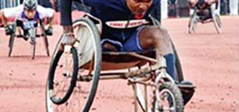 A member of Sri Lanka Light Infantry (SLLI) leading in wheelchair marathon at the 20th army para games 2017 at the Diyagama stadium on Friday, the final day of 20th games