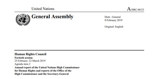 40th Human Rights Council Report on Sri Lanka  25 February–22 March 2019