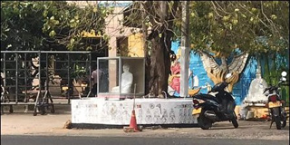 Buddha statue placed at private bus stand in Trinco.