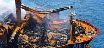 Container ship fire produces ecological catastrophe in Sri Lanka
